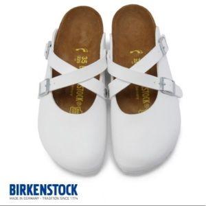 Birkenstock Dorian White Birko Flor Mary Jane Clog